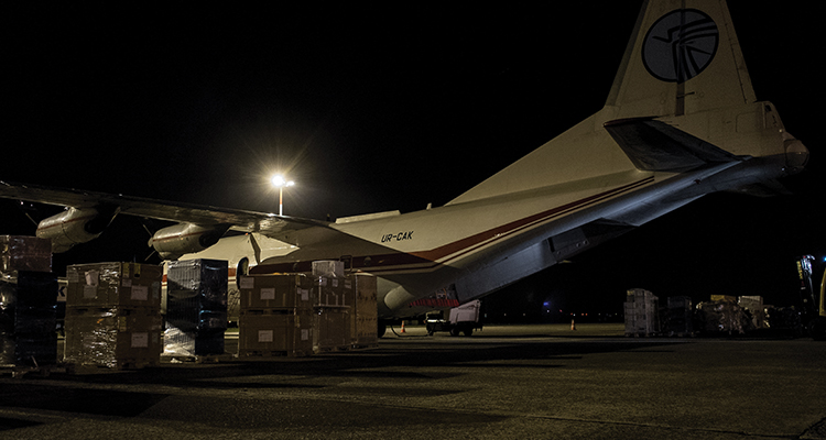 Emergency supplies for the Philippines awaits in the cargo area